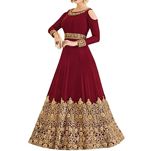 Monika Silk Mill Women\'s Latest Heavy Mar0on Embroidered Wedding Collection Party wear Gown Style Anarkali Salwar Suit