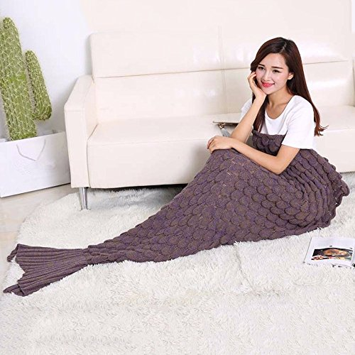 Neify - Weiche warme Meerjungfrau-Schwanz-Decken strickte Häkelarbeit-kreativer Schlafsack im Schlafsofa-Wohnzimmer oder kampierende Spielraum-Art- und Weiseschlaf-Decken ( Color : Brown )