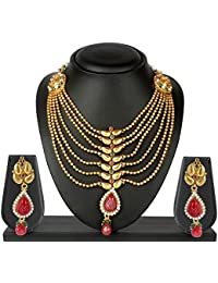 [Sponsored]Vk Jewels Wedding Collection Gold Brass Alloy Necklace Set For Women Vknks1078G