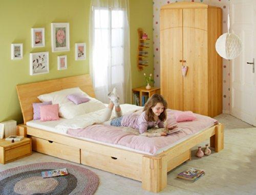 BioKinder 22845 Dario Spar-Set Bett mit Rückenlehne aus Massivholz Erle 140 x 200 cm (Erle-set Bett)