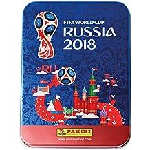 Panini - Mundial Rusia 2018 Caja metálica con 20 sobres [Los números de los cromos de la versión importada pueden no coincidir con el álbum de la versión española]