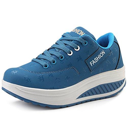 Solshine Damen Fashion Plateau Schnürer Sneakers mit Keilabsatz Walkmaxx Schuhe Fitnessschuhe Blau 41EU