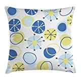 Cyourteem Yellow and Blue Throw Pillow Cushion Cover, Random Doodle Circles Abstract Floral Children Pattern, Decorative Square Accent Pillow Case, 20 X 20 inches, Light Yellow Grey Baby Blue