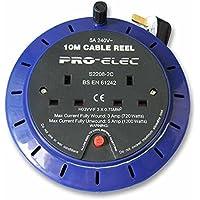 Pro Elec 10M 2 Modo Prolunga Cassetta Bobina / Doppia UK Piombo Presa / 5 Ampere