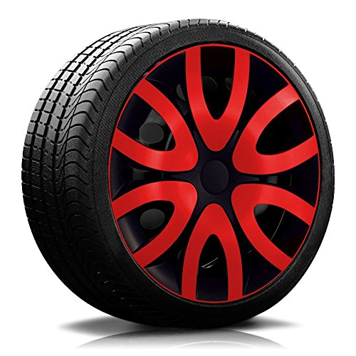 universell ! Schwarz//Rot 4 x schwarze PKW Radkappen Radzierblenden mit Ring Rot Farbring /& Gr/ö/ße w/ählbar 14 Zoll ORDEN