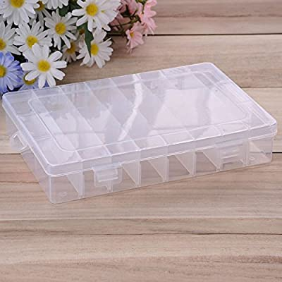 Scrox Storage Case Plastic Multifunction Adjustable Dividers Storage Box Jewelry Bead Organizer Box Medicine Pill Fishing Hook Storage Container Case (24 Grids) by Scrox