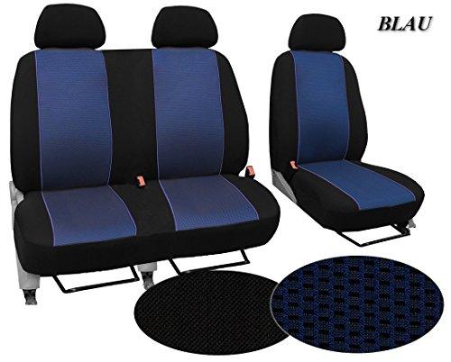Maßgefertigter Sitzbezug, Modellspezifischer Sitzbezug Fahrersitz + 2er Beifahrersitzbank Für Ford Transit Custom. Super Qualität, STOFFART VIP. In diesem Angebot BLAU (Muster im Foto).