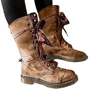 TianWlio Stiefel Damen Retro Schuhe Leder Mittelstiefel Rutschfeste Runde Spitze Stiefel mit Schnürung Khaki Gray 35-43