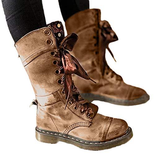 TianWlio Stiefel Damen Retro Schuhe Leder Mittelstiefel Rutschfeste Runde Spitze Stiefel mit Schnürung Khaki 37