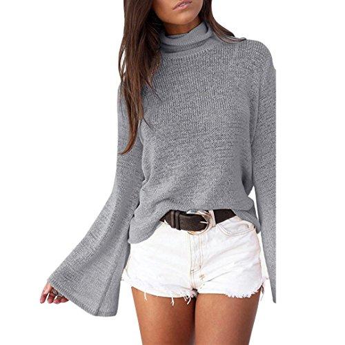 Bekleidung Damen Pullover Stricken, ZIYOU Mode Rollkragen Sweatershirts Einfarbig Lange Ärmel Weich Tops (Grau, M) (Rollkragen Stricken)