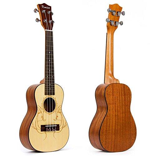 Kmise 60,96 cm (24')-Ukulele concerto, tavola armonica in Abete massello, motivo: chitarra, professionale, 24 bis
