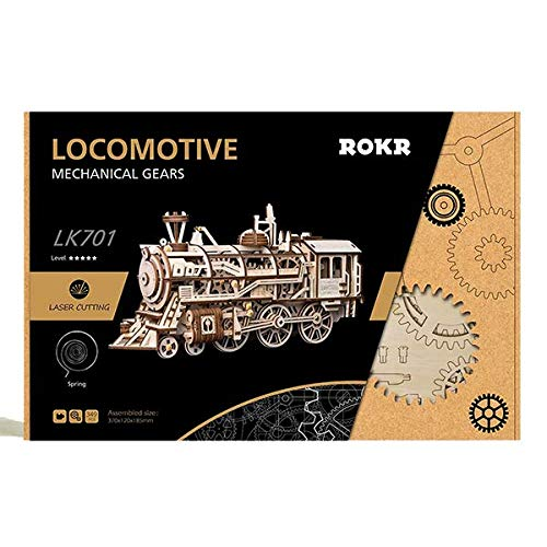 ROKR Lokomotive: Mechanische Zahnräder Moving Holz 3D Train Puzzle Modell: Alter 14 p - Zahnrad-puzzle