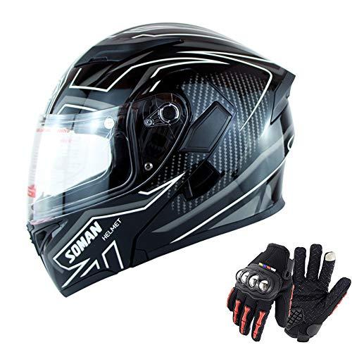 QZFH Capovolgere Dual Lens Up del Casco della Motocicletta del Motociclo di Motocross modulare Moto Casco da Motociclista Fronte Pieno Caschi (Regalo: Touch Screen Moto Guanti pieni),2,L