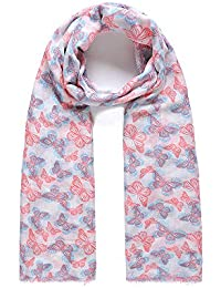 Pink & Blue Filigree Butterfly Print Wide Scarf