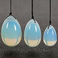 Yiwa Kegel Balls 3PCS/set White Opalite Yoni Eggs Jade Egg with Cords Gemstone Massage Ball for Exercise Pelvic Vaginal Muscle Care Stone