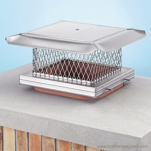 Homesaver 14605 8 Inch x 17 Inch HomeSaver Pro Stainless Steel Chimney Cap 304-alloy 18-ga. Base And Mesh 24-ga. Lid by Copperfield Chimney Supply