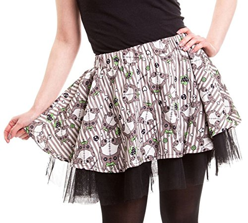Cupcake Cult Rock KAMU MINI SKIRT Grau XL (Gestreifter Mini-rock Grau)
