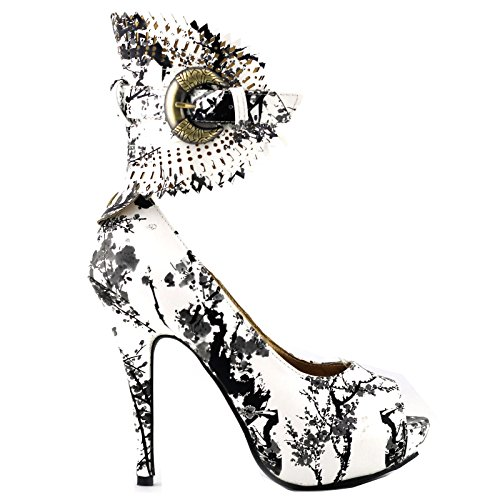 Visualizza Story Multicolore Motivo floreale / Animal Gladiator Platform Pumps, LF30402 Bianco