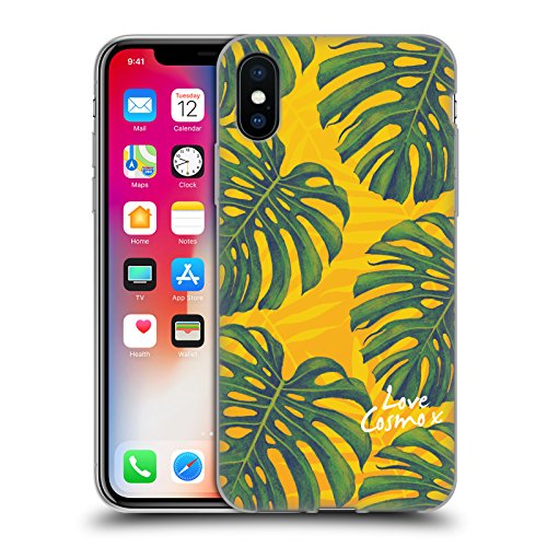 Official Cosmopolitan I Heart Tropical Soft Gel Case for Apple iPhone X Scattered Split Leaf
