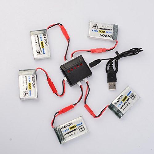 Lommer 5pcs 1000mah Lipo Batterie mit 5 in 1 Ladegerät und Sicherheit Explosionsgeschützte Tasche für MJX Hubschrauber T04 / T05 / T25 / M03 / F28 / F29 - 2