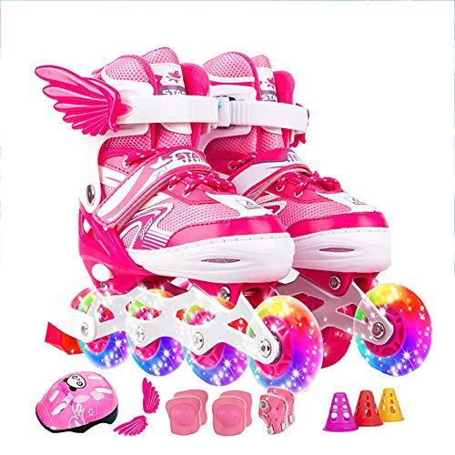 FXPCQC Kinder Quad Skate,Jugend Rollschuhe,Jungen Inline Skates Rollschuhe VerschleißFeste Roller Skates,Erwachsene Verstellbar MäDchen,Pink-L