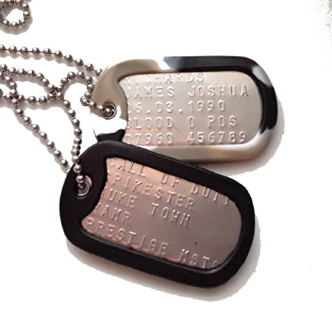 MILITARY DOG TAGS - Personalised - Set of two (full military-specification)