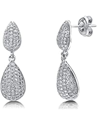 BERRICLE Rhodium Plated Sterling Silver Cubic Zirconia CZ Fashion Dangle Drop Earrings