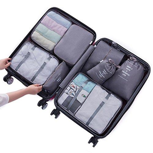 Belsmi Reise Kleidertaschen Set 8-teilig Reisetasche in Koffer Reisegepäck Organizer Kompression Taschen Kofferorganizer Mit Schuhbeutel (Grau)