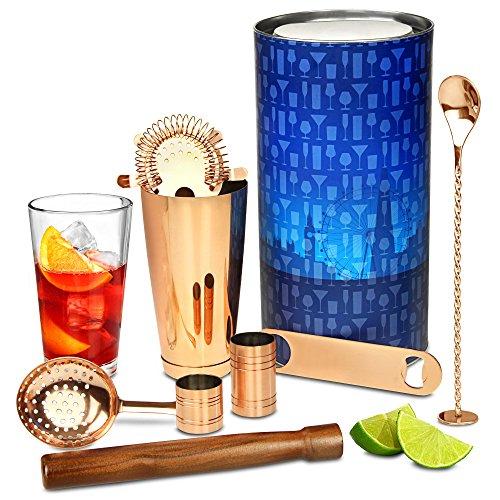 Kupfer-Kit von bar @ drinkstuff-PREMIUM Cocktail Geschenk Set mit Kupfer Boston Cocktail Shaker Tin & Glas und Kupfer Bar Tools -