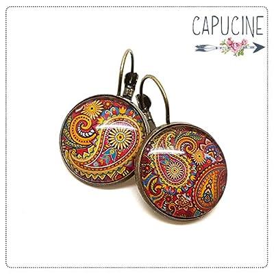 Boucles d'oreilles Cachemire avec cabochon verre - Boucles d'oreilles dormeuses Cachemire - Cachemire - idée cadeau de Noël, cadeau d'anniversaire, cadeau de Saint Valentin
