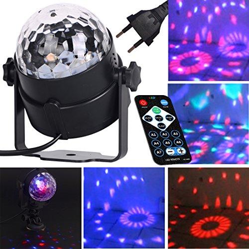 ZITFRI Discokugel Lichteffekt LED Partylicht Disco Bühnenbeleuchtung Kristall Magic Ball,7 Farbe RGB Partybeleuchtung LED Effekt Bühne Licht Lichtprojektor für Weihnachtsparty Show Disco DJ Mini Klub 3W Partylicht Stimmungaktiviert mit Fernbedienung