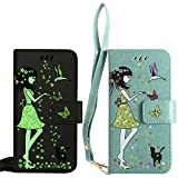 BestCatgift für Samsung Galaxy S3/9300 Hülle [Luminous Woman Cat Design] PU Leather Flip Wallet Cover Protective Shell with [Wrist Strap] - Green