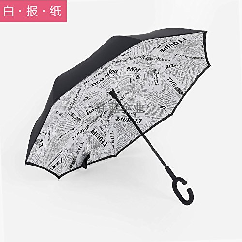 kinine Retromarcia auto creativo gratuito doppio-ombrello a forma di c stand ombrello ombrello ombrello ,Carta da giornale