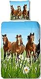 Aminata Kids - Kinder-Bettwäsche-Set 135-x-200 cm Pferd-e-Motiv Haus-Tier 100-% Baumwolle Renforce Gruen-e hell-blau-e