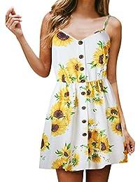 00f32f4590f DIKEWANG Women Summer Dress Sexy Sling Sunflower Print Sleeveless V-Neck  Spaghetti Strap Buttons Princess Dress Beach Party…