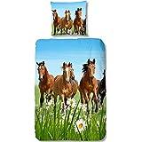 Aminata Kids - liebevolle Mädchen-Kinder-Bettwäsche 135x200 Pferde-Motiv hochwertige Baumwolle Pferde-Bettwäsche-Kinder auf der Wiese