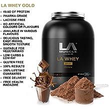 LA Muscle LA Whey Oro 100% Puro de suero suplemento de proteína en polvo, Sabores boca de riego; proteína premiadas, elegido el mejor de proteínas por la revista Mens Health, como se ve en la televisión, 100% natural sin aditivos, proteínas 49 g por porción LOW-ULTRA EN LA GRASA Y AZUCAR, especial Amazon Precio - ¡Comprar ahora antes que los precios vuelvan a subir! (Chocolate, 908g)