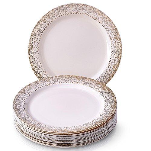 Ocean Mist Sammlung Elegante china-look Einweg rund weiß mit Gold Mist Bordüre Geschirr Teller für Esszimmer, Partys und Events–Schwergewicht Kunststoff 19,1cm Teller (Billig Gold Tischdecken)