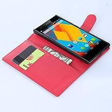 Nadakin ZTE Blade Vec 4G Calidad Premium Cartera de Cuero con Carcasa de Teléfono Flip Funda con Soporte Magnetico de Cierre para ZTE Blade Vec 4G (rojo)