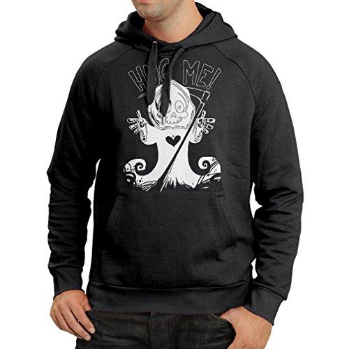 Kapuzenpullover Der Tod kommt! Halloween Skelett Kleidung, böse Schädel Sichel (XXX-Large Schwarz (Kostüme Böse Cheerleader)
