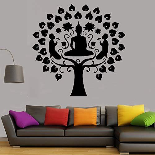 WSYYW Buddha Baum Vinyl Wandaufkleber Buddhistischen Buddha Stil Wandaufkleber Meditation Baum Dekoration Wohnzimmer Schlafzimmer Aufkleber Wandaufkleber Hausgarten Königsblau 16 30x30 cm - Dobby Dot