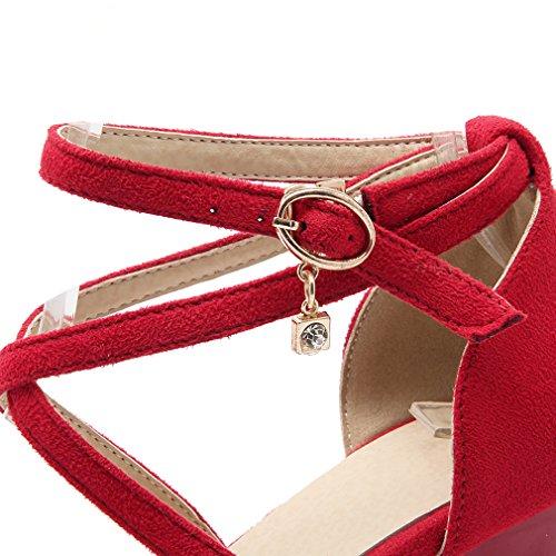 YE Damen Spitze Riemchen Blockabsatz High Heel Pumps mit Schnalle und 7cm Absatz Elegant Schuhe Rot