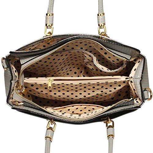 TrendStar Damen-Taschen-Tasche Schultertasche Promi-Art-Frauen Entwerfer Poliertes Hardware Faux Leder Grau