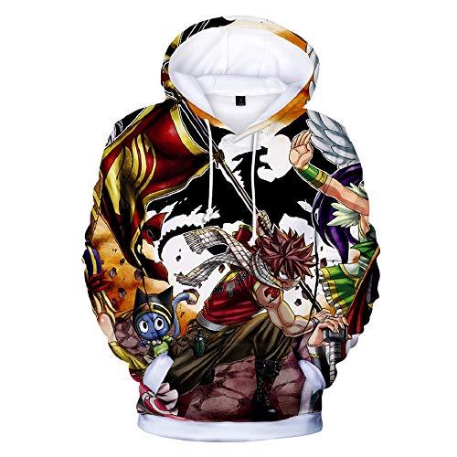 Dwygx Klassische 3D-Druck Unisex Rundhals Hoodie Sweatshirt Anime Neuheit Kordelzug Cosplay Baumwollprodukte Alltagskleidung Fairy Tail XS