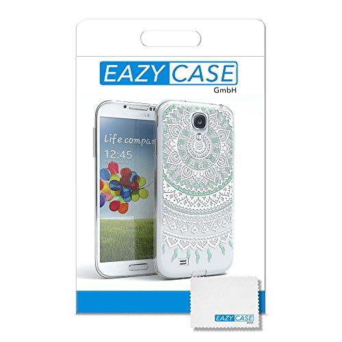 Samsung Galaxy S4 Hülle - EAZY CASE Handyhülle - Ultra Slim Glitzer Schutzhülle aus Silikon in Anthrazit Henna Weiß / Türkis