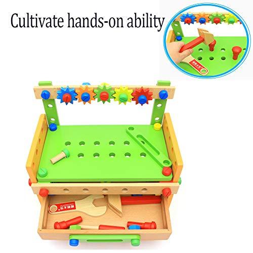 BONLL Puzzle Montage Bausteine Kleinkinder und Kinder Holz Werkzeugtische Montage und Demontage Muttern Kombination Spielzeug 3-6 Jahre Jungen und Mädchen Geschenke