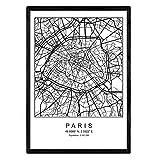 Stampa mappa della città stile scandinavo Parigi in bianco e nero. A3 struttura del manifesto formato della carta stampata No 250 gr. Dipinti, stampe e manifesti per soggiorno e camera da letto