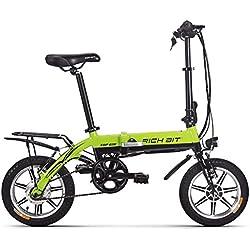 "Eléctrico plegable Ciudad bicicleta - BMX bicicleta bicicleta de carretera RT618 250 W * 36 V * 8ah larga duración 14 ""rueda V Brake para bicicleta nueva actualización, color gris, tamaño medium, tamaño de rueda 14.00 inches"