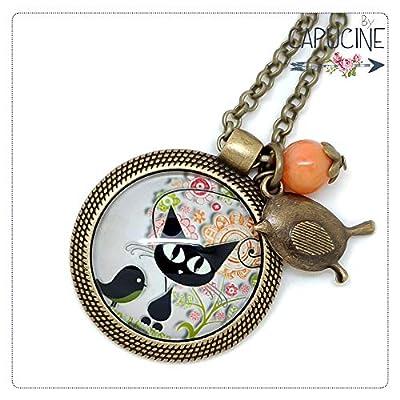 Sautoir chaton noir bronze et cabochon verre - Long collier chat et oiseau - L'Oiseau des Chats - idée cadeau femme, cadeau saint valentin, cadeau de noel, fête des mères