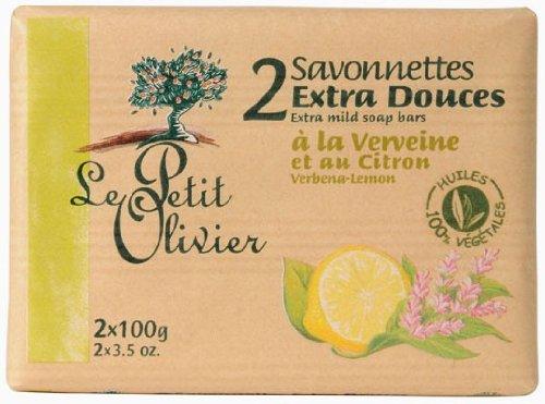 Le Petit Olivier Seife mit Zitrone Eisenkraut und Olivenöl 2 x 100 Gramm aus Frankreich (Zitronen-seife)